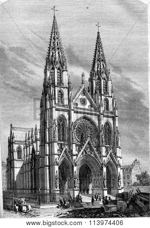 View of the church Sainte Clotilde and Sainte Valere, in Paris, vintage engraved illustration. Magasin Pittoresque 1857.