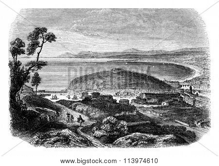 View the coast of the Mediterranean taking the road of Genoa, vintage engraved illustration. Magasin Pittoresque 1853.