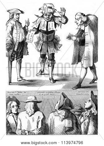 Caricature of the seventeenth century, vintage engraved illustration. Magasin Pittoresque 1847.