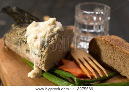 A Traditional Jewish Dinner, Stuffed Pike And Black Bread