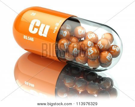 Pills with copper cuprum Cu element. Dietary supplements. Vitamin capsules. 3d