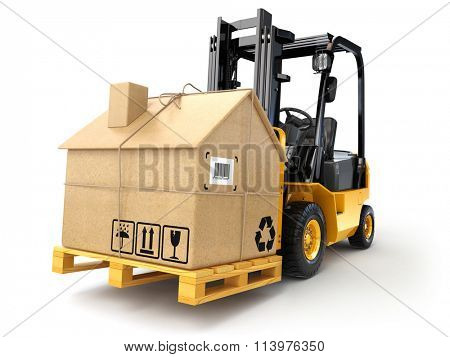 Delivery or moving houseconcept. Forklift with cardboard box as home isolated on white. 3d