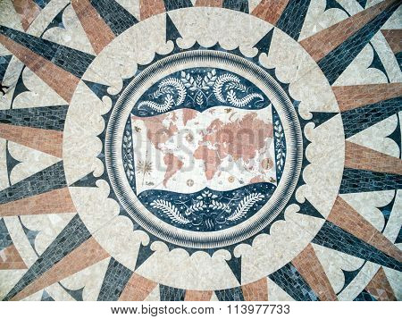 Top View of the Mosaic World Map showing the discoveries and routes in 15th 16th centuries at Monument of the Discoveries, Lisbon, Portugal