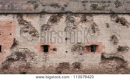 Embattled walls of Fort Pulaski, Georgia. The fort was bombarded by union forces during the American Civil War
