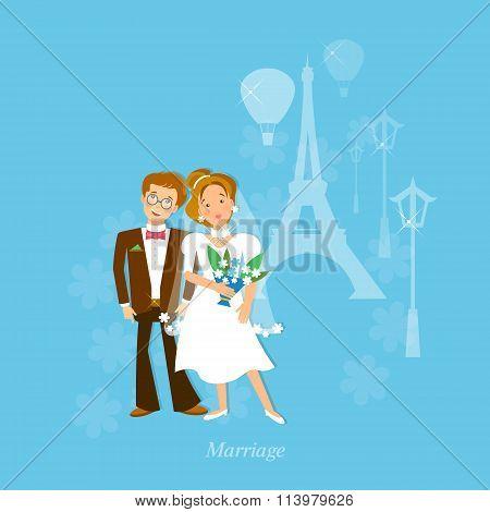 Wedding Couple In Love Honeymoon To Paris