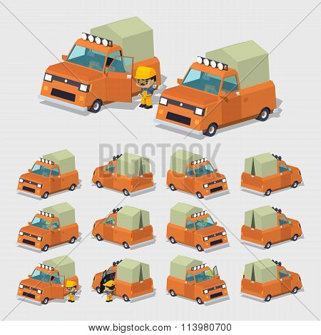 Cube World. Old orange pickup with tent