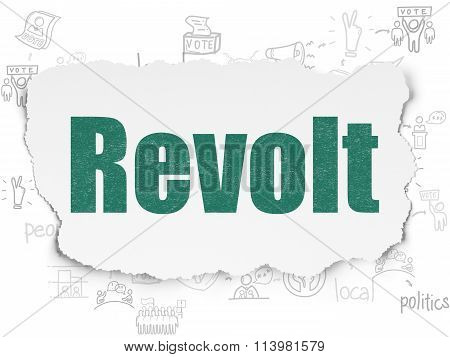 Political concept: Revolt on Torn Paper background