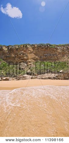 Sandstone Cliff Face or Rock Wall at the Beach