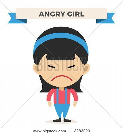 Little cartoon angry girl vector illustration. Cartoon angry girl isolated on background.