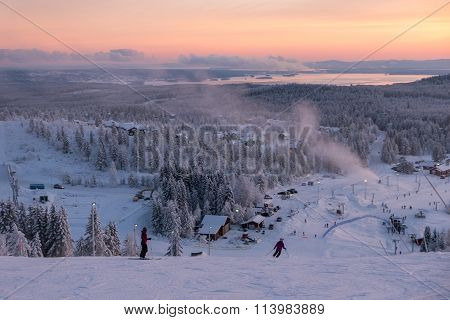 Evening Downhill Skiing In The North
