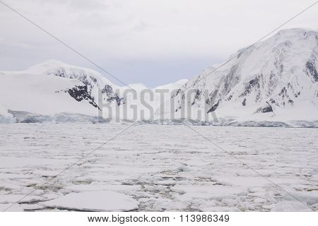 Antarctic Coast With Glaciers And Field Of Pack Ice
