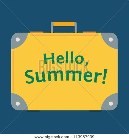 Travel bag Hello Summer vector illustration. Travel bag isolated on background. Travel bag with text Hello Summer. Travel bag. B case ag for traveling. Travel bag vector. Summer time, vacation, travel