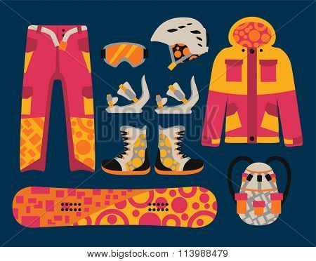 Snowboard sport clothes and tools elements. Snowboarding elements isolated on white background. Snowboard vector cloth, snowboard jacket, snowboard board. Snowboard winter sport equipment. Snow board