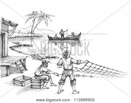 Fishermen at work sketch