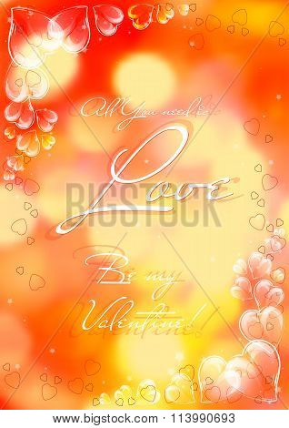 Festive Card With Glassy Hearts On Valentine's Day. February 14