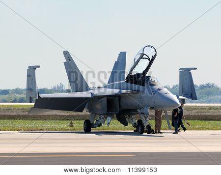 Us Navy F/a-18 Prepares For Flight