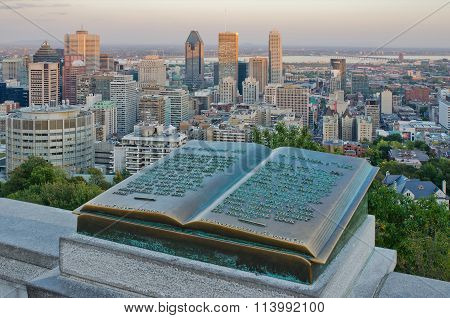 Downtown Montreal And Plaque Of Jacques Cartier