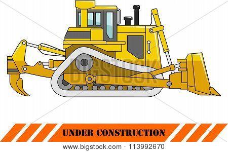 Dozer isolated on white background in flat style. Heavy construction machine. Vector illustration