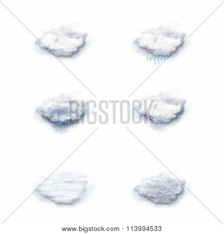 Weather Forecast Icons Set, on a white background poster