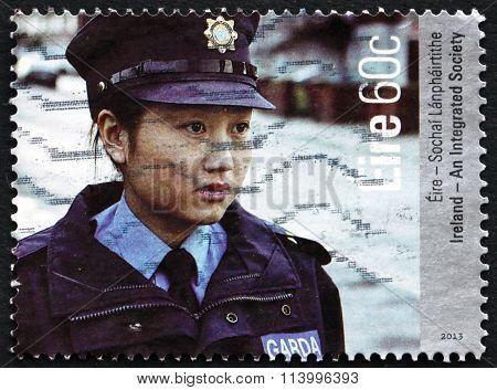 Postage Stamp Ireland 2013 Policewoman, Integration