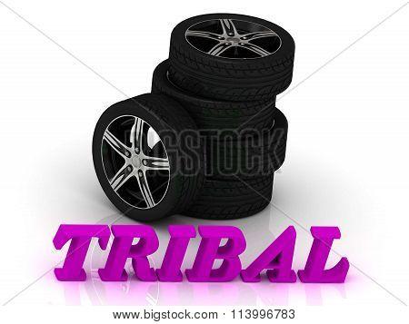3D illustration 3D illustration TRIBAL- bright letters and rims mashine black wheels on a white background