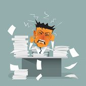 Vector cartoon businessman busy ( strain burnout ) sitting at office desk. On office table with document - paper pile of work. Concept for stress or tension overworked depressed and exhausted poster