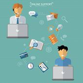Concept of Technical Online Support. Computer Remote Nonstop Support Service. Vector illustration in flat style poster