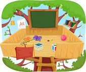 Illustration of a Cute Treehouse Classroom Cluttered with Educational Materials poster