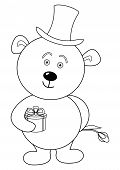 Teddy bear enamoured in cylinder with gift box and flower, contour poster