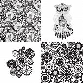 Abstract Machine pattern. Seamless mechanism texture. Vector illustration with cogwheels and mechanical parts. Black gears, steampunk seamless pattern poster