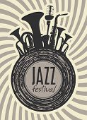 banner for jazz festival with wind instruments and vinyl record poster