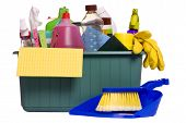 a container with all the items needed for the daily chore of cleaning house poster