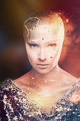 Girl with creative makeup. Girl astronomer. Astrologer. The cosmological universe. Predictions. The cold light of the stars. Without hair girl. Mixed light. poster