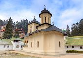 The Sinaia Monastery, located in Sinaia, in Prahova County, Romania, was founded by Prince Mihail Cantacuzino in 1695 and named after the great Saint Catherine's Monastery on Mount Sinai in Egypt. poster