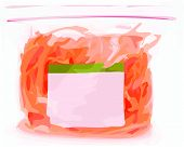 Orange food item in clear sealed plastic produce bag. poster