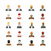 Set of people avatars profession professional human occupation basic characters set employee variety in flat style. Engineer builder worker welder foreman in different races. poster