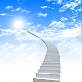 White ladder extending to a bright sky against a background of green grass. Symbol of the road to heaven poster
