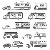 Motorhomes black white icons set with trailers and cars flat isolated vector illustration poster