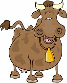 this illustration depicts a happy smiling cow. poster
