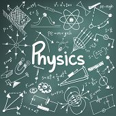 Physics science theory law and mathematical formula equation doodle handwriting and model icon in in blackboard background paper used for school education and document decoration create by vector poster