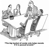Business cartoon about corporate culture.  The big bucket of candy helps to improve morale for the team. poster