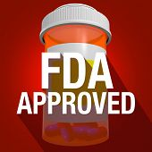 FDA Approved words on an orange pill or medicine bottle with long shadow poster