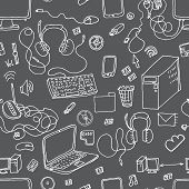 A vector seamless pattern of hand drawn doodles of electronic gadgets. Computer laptop monitor poster