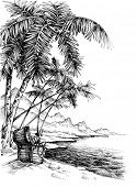 Treasure island sketch. Beautiful palm trees on sea shore and a treasure chest poster