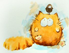 Funny Red Cat With Bird