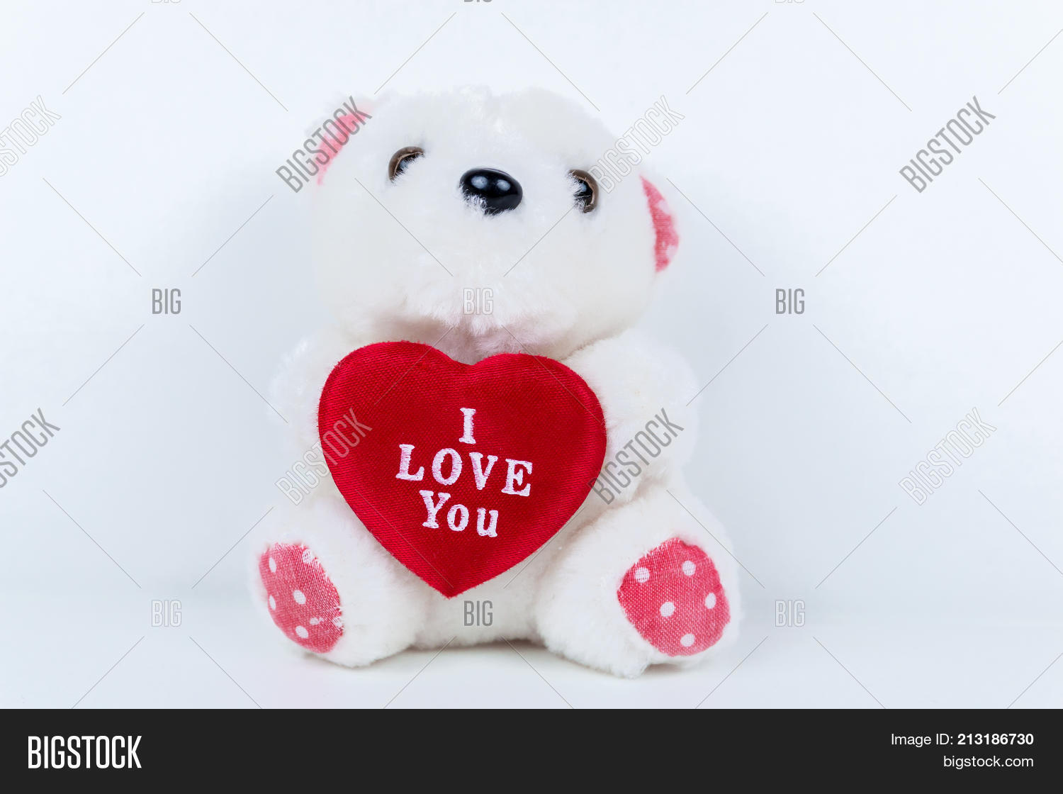 White Teddy Bear holding Red Heart with I Love You written on it