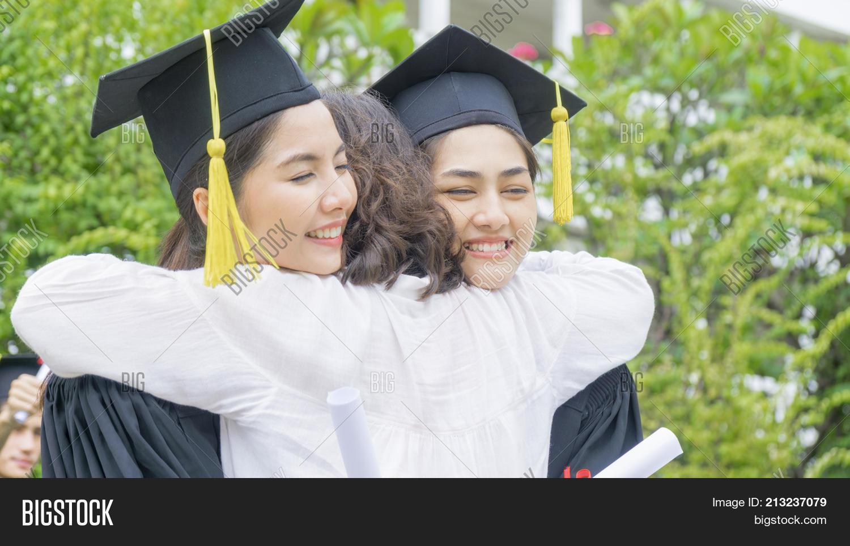 Two Asian Girl Students Graduation Image & Photo | Bigstock