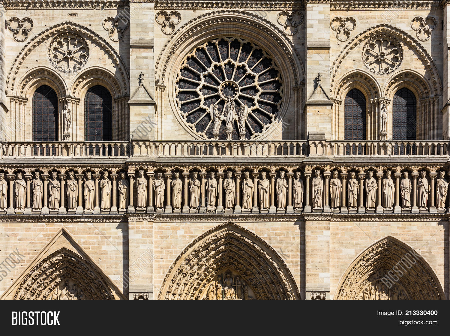 Architectural Details Of The Catholic Cathedral Notre Dame De Paris Built In French Gothic Architecture