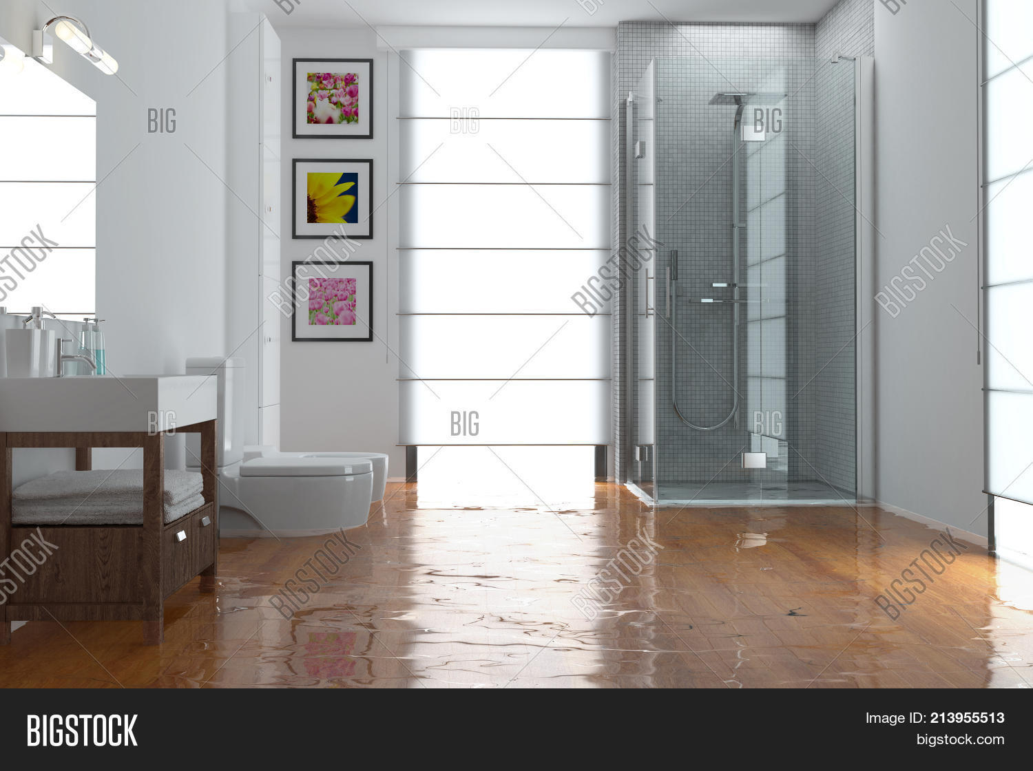 Flooding Concept With Flooded Bathroom As Water Damage Concept (3D  Rendering)