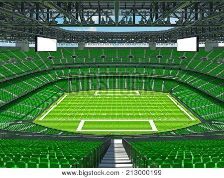 Modern American Football Stadium With Green Seats